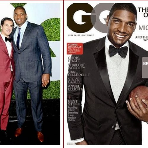 Photos: NFL player Michael Sam shows some loving on GQ's black carpet