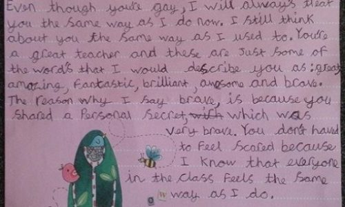 Nine-Year-Old Girl Writes Letter To Her Gay Teacher