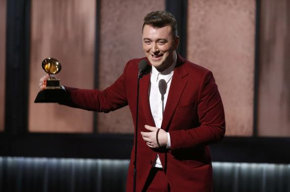 Sam Smith accepts the award for best new artist at the 57th annual Grammy Awards in Los Angeles