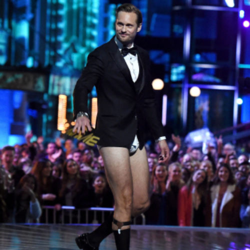 Actor Alexander Skarsgard presents award in just his underwear