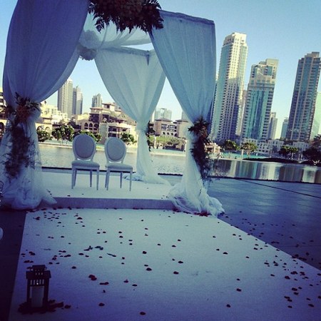 "Tiwa Savage and Tunji ""Tee Billz"" Balogun Dubai wedding setting"