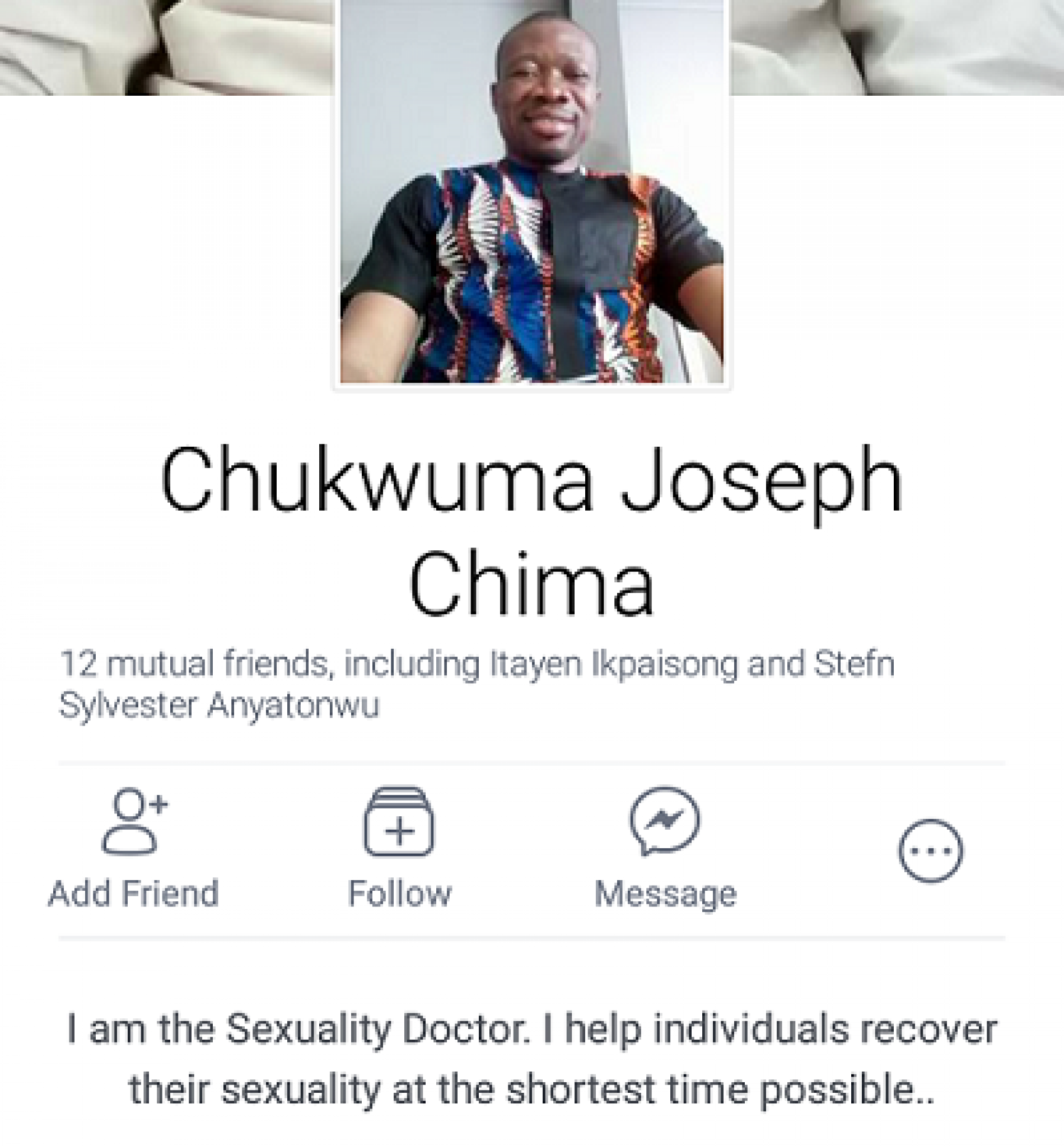 """""""Homosexuality is a form of identity crisis."""" Self-proclaimed sexuality doctor, Chukwuma Joseph Chima, has all the answers"""
