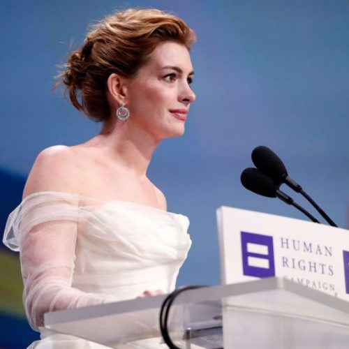 Anne Hathaway denounces white and straight privilege at awards ceremony
