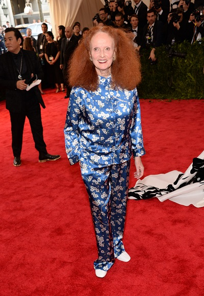 """NEW YORK, NY - MAY 04: Grace Coddington attends the """"China: Through The Looking Glass"""" Costume Institute Benefit Gala at Metropolitan Museum of Art on May 4, 2015 in New York City. (Photo by Kevin Mazur/WireImage)"""