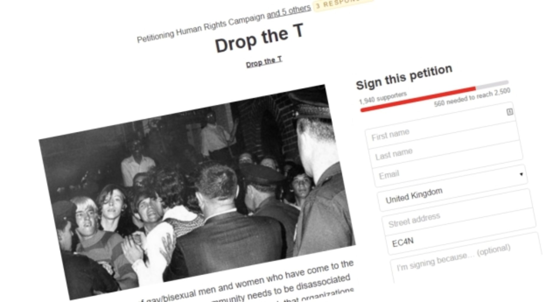 The 'Drop The T' Petition and how the LGBT is reacting to it