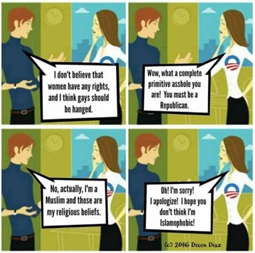 American conversative cartoon about Muslims