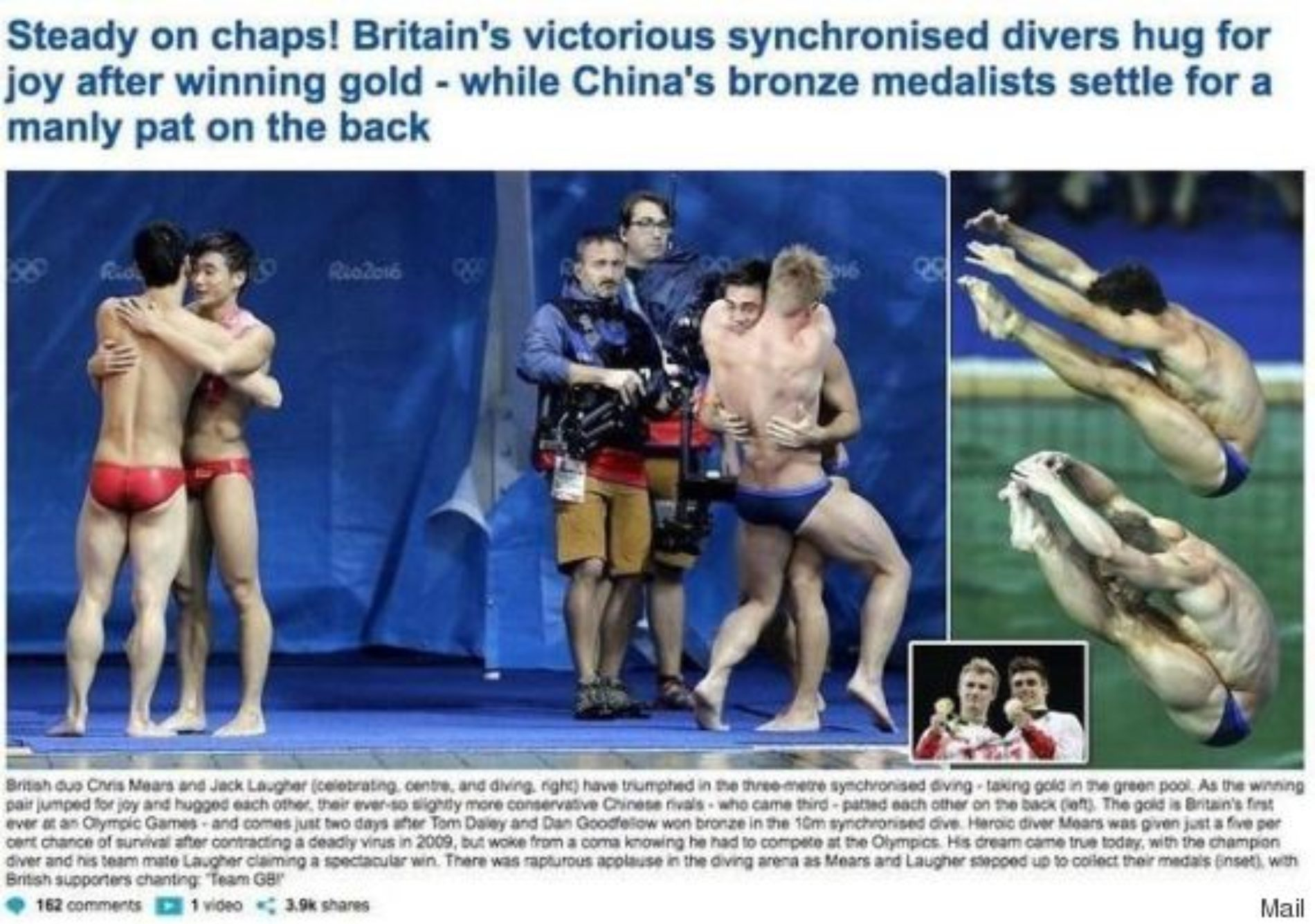 Daily Mail Claims Two Male Olympians Hugging Is Unmanly and the Internet Reacts