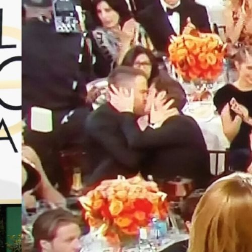 Andrew Garfield and Ryan Reynolds lock lips at the Golden Globes