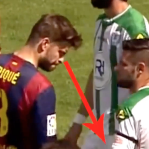 Soccer player Gerard Piqué distracted by opponent's huge something-something