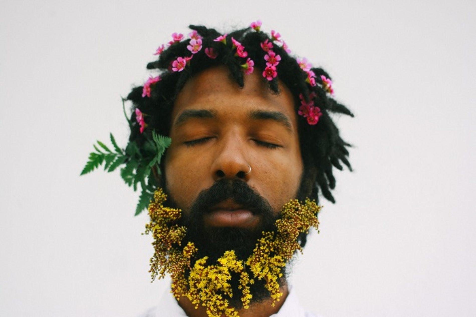 FLOWERS ON HIS HEAD