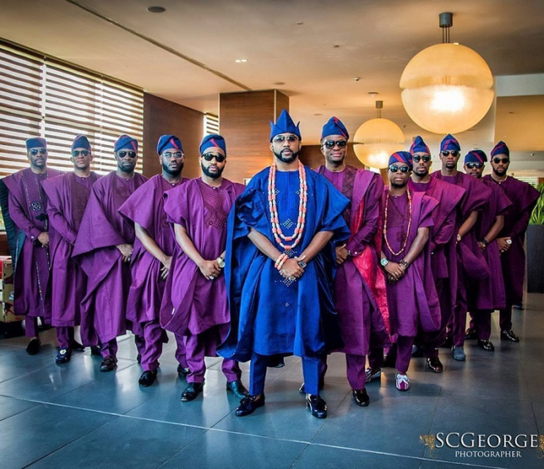 Photos: All The Purple and the Men at Banky W's Traditional Wedding to Adesua Etomi