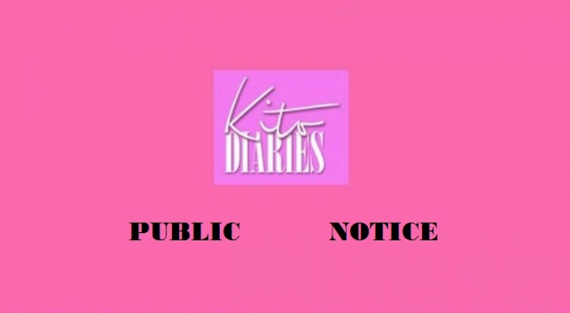 Kito Diaries Public Announcement: Rental Notice